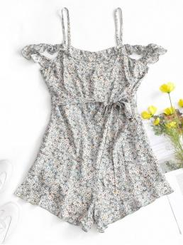 Summer Yes Ruffles Floral Short Cold Spaghetti Mini Loose Fashion Daily and Vacation Floral Cold Shoulder Belted Romper