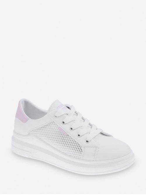 Breathable Summer PU Rubber Patchwork Lace-Up For See Through Mesh Panel Casual Skate Shoes