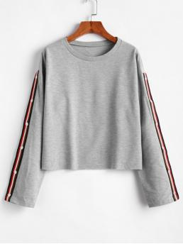 Autumn Striped Full Regular Drop Crew Sweatshirt Striped Tape Drop Shoulder Raw Hem Sweatshirt