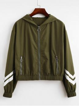 Autumn Zippers Striped Zipper Hooded Full Regular Slim Fashion Jackets Daily and Going Striped Panel Hooded Pull Ring Zipper Jacket