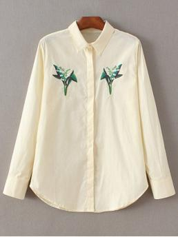 Fall Floral Shirt Full Regular Casual Casual Floral Embroidered Shirt