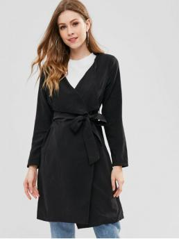 Autumn and Spring Yes Fashion Pockets Solid Turn-down Full Slim Trench Belted Open Front Trench Coat