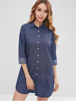 No Fall Solid Pockets Long Shirt Mini Straight Casual and Vacation Casual Button Front Pockets Shirt Dress