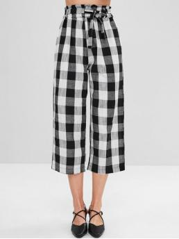 Fall and Spring Yes Elastic Wide Plaid Loose High Fashion Wide Leg Belted Plaid Pants