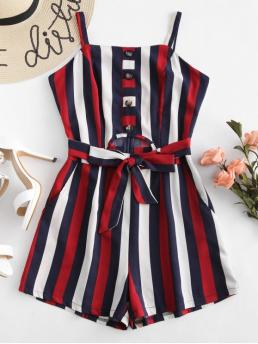 Summer Yes Button and Pockets Striped Nonelastic Sleeveless Square Regular Fashion Going Half Buttoned Striped Cut Out Romper