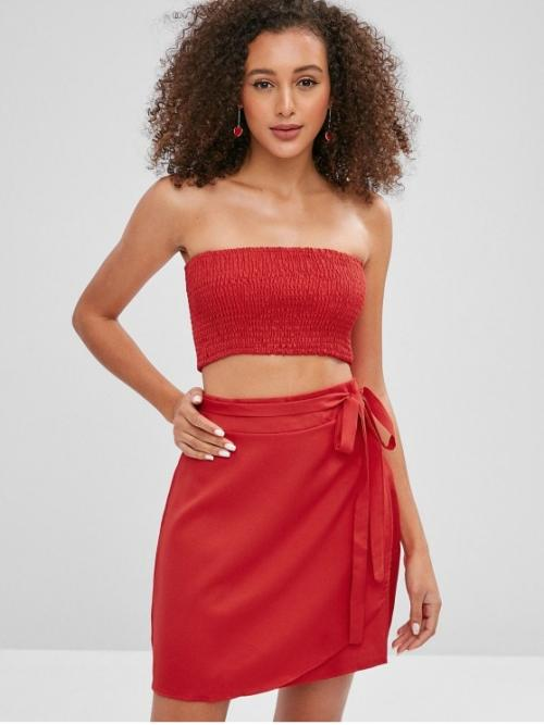 Yes Summer Solid Flat Zipper High Sleeveless Bandeau A Fashion Going Smocked Tube Top with Belted Skirt Set