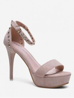 Summer Suede 11CM Rubber Rivet Others Buckle Stiletto Ankle Club and Party Fashion For Studded Stiletto Heel Platform Sandals
