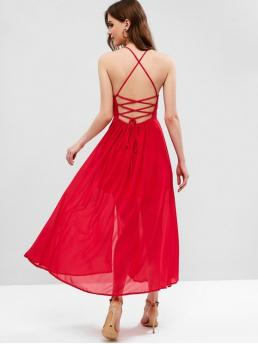 No Summer Nonelastic Solid Criss-Cross and Lace Sleeveless Spaghetti Ankle-Length A-Line Beach and Vacation Fashion Lace Up Criss Cross Slit Cami Dress