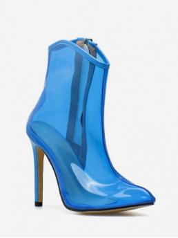 Trendy PVC Rubber Slip-On Solid 11CM Stiletto Pointed Ankle Spring/Fall Fashion For Sexy Clear PVC High Heel Pointed Toe Boot
