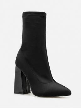 Trendy Stretch Slip-On Solid 11CM Chunky Pointed Mid-Calf Spring/Fall Fashion For Super High Chunky Heel Plain Boots