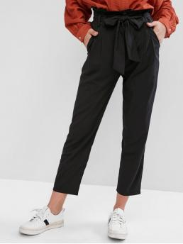 Spring and Summer Yes Zipper Straight Solid Pockets Regular High Fashion Belted High Waisted Straight Pants