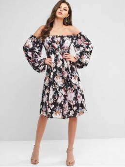 No Fall and Spring Nonelastic Floral Button Long Off Knee-Length A-Line Vacation Fashion Smocked Buttoned Floral Long Sleeve Dress