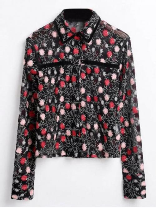 Autumn and Spring Embroidery Floral Full Regular Shirt Fashion Floral Embroidered See-Through Shirt