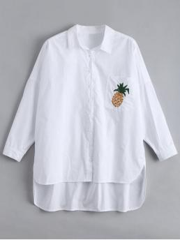 Embroidery Pineapple Full Long Shirt Fashion Casual Pocket High Low Pineapple Embroidered Shirt