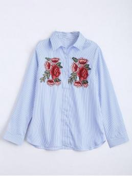 Autumn and Spring Patch Striped Full Regular Shirt Fashion Daily Floral Embroidered Patches Stripes Shirt