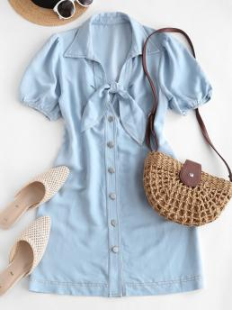 Sale Chambray Button up Tied Mini Dress