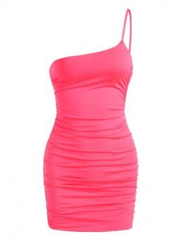 Light Pink Solid Sleeveless Polyester,polyurethane Neon One Shoulder Ruched Slinky Dress on Sale