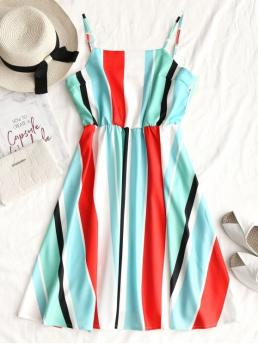 No Summer Striped Sleeveless Spaghetti Mini A-Line Day and Night Fashion Cami Casual Stripes Mini Dress