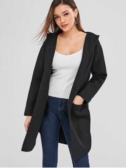 Autumn and Winter Pockets Solid Elastic Full Hooded Long Loose Fashion Daily and Going Cardigans Open Front Hooded Longline Cardigan