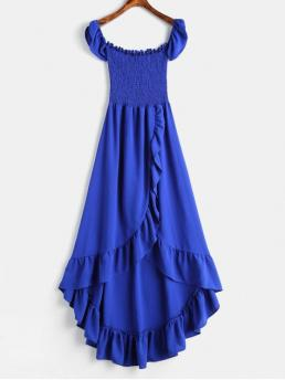 No Summer Solid Ruffles Short Off Ankle-Length Asymmetrical Day and Prom Fashion Ruffles Smocked Off Shoulder Dress