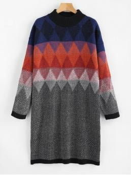 Fall and Spring No Geometric Long Round Knee-Length Casual and Going Geometric Graphic Heathered Sweater Dress