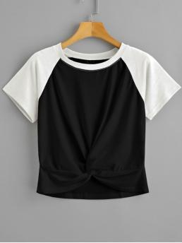 Summer Others Short Crew Casual Two Tone Twist Cropped Tee