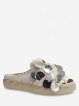Summer Solid Casual Casual Cloth Rubber Slip-On Round Open For Slip-On Flat Medium Heel Paillette Design Sandals