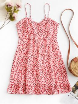 No Summer Floral Sleeveless Spaghetti Mini A-Line Vacation Casual Floral Print Smocked Back Cami Dress