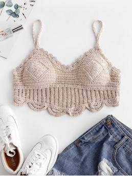Summer Nonelastic Standard Solid Spaghetti Short Fashion Padded Crochet Scalloped Crop Top