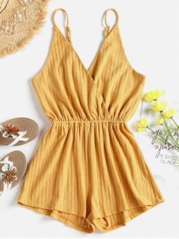 Fall and Spring and Summer No Solid Sleeveless Spaghetti Straight Cute Casual Ribbed Surplice Cute Cami Romper