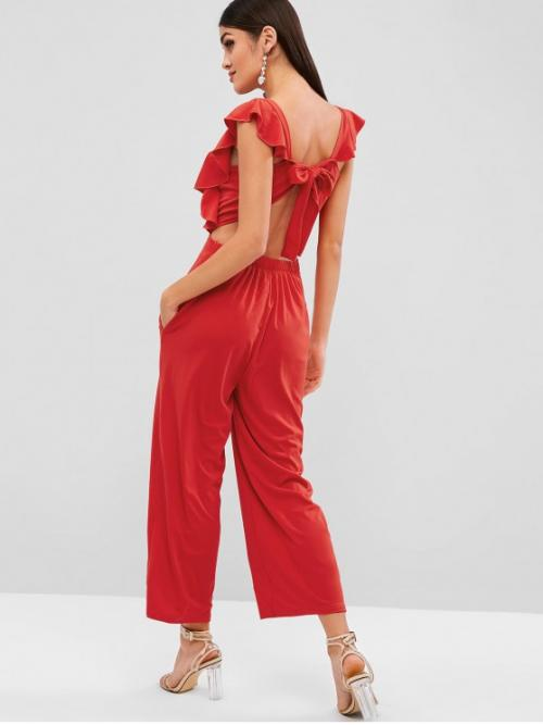 Summer No Ruffles Solid Cap U Loose Casual Casual and Going Knotted Back Plain Wide Leg Jumpsuit