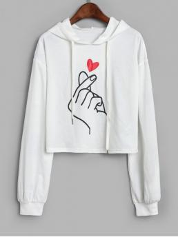 Autumn and Spring Print Full Short Hooded Hoodie Finger Heart Graphic Cropped Drawstring Hoodie