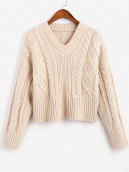 Autumn Solid Elastic Full Drop V-Collar Regular Regular Casual Daily Pullovers Cable Knit V Neck Solid Sweater