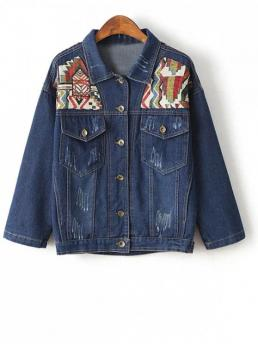 Fall and Spring Pockets Geometric Turn-down Full Wide-waisted Jackets Fashion Denim Jacket With Yoke Patches
