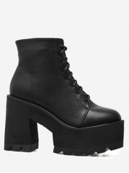 PU Lace-Up Solid 10CM Platform Round Ankle Spring/Fall Fashion For Chunky Heel Lace UP Platform Boots