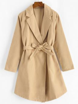 Long Sleeves Skirted Polyester,polyurethane Solid Snap Button Belted Wool Blend Coat Beautiful