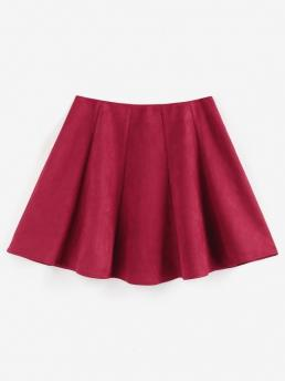 Sale Deep Red Solid Mini Cute Faux Suede Front Skirt