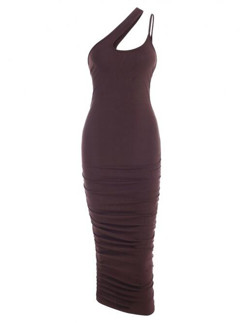 Deep Coffee Solid Sleeveless Polyester,spandex Ribbed One Shoulder Slinky Dress Pretty