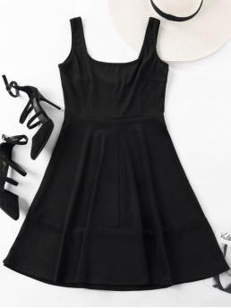 No Fall and Spring and Summer Solid Sleeveless Square Mini A-Line Cocktail Brief Sleeveless Square Neck Mini Dress