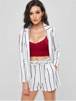 Fall and Spring and Summer Striped Pleated Elastic High Long Lapel Regular Fashion Daily and Going Striped Blazer and Shorts Co Ord Set