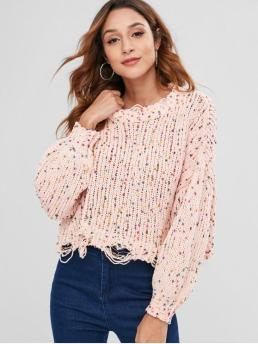 Elastic Full Mock Short Regular Fashion Pullovers Ripped Cropped Oversized Chenille Sweater