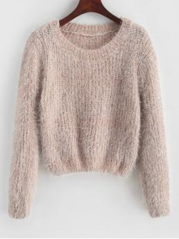 Autumn and Spring and Winter Others Elastic Full Round Short Regular Fashion Daily and Going Pullovers Pullover Fuzzy Heathered Sweater