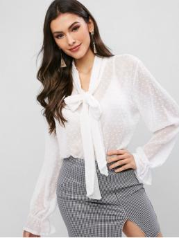 Autumn and Spring Ruffles and Tie Solid Full Regular Bow Fashion Daily and Outdoor Swiss Dot Ruffled Cuff Chiffon Tied Sheer Blouse