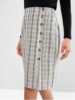 No Nonelastic Fall and Spring Single Button Striped Sheath Knee-Length Daily and Going Fashion Button Up Slit Stripes Sheath Skirt