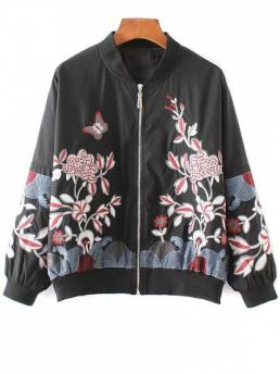 Fall Embroidery Floral Stand-Up Full Slim Jackets Fashion Embroidered Souvenir Jacket