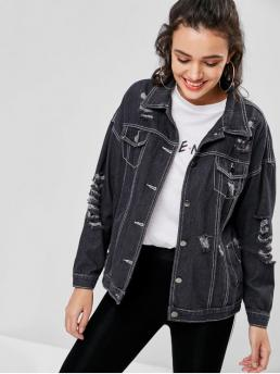 Autumn and Spring and Winter Pockets Solid Single Shirt Full Wide-waisted Streetwear Jackets Daily and Going Ripped Boyfriend Drop Shoulder Denim Jacket
