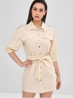 Spring and Summer Yes Solid 3/4 Drop Shirt Mini Shirt Straight Casual Brief Shift Belted Shirt Dress