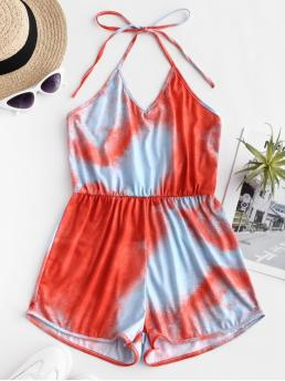 Summer No Backless Tie Sleeveless Halter Regular Casual Casual Backless Tie Dye Halter Romper