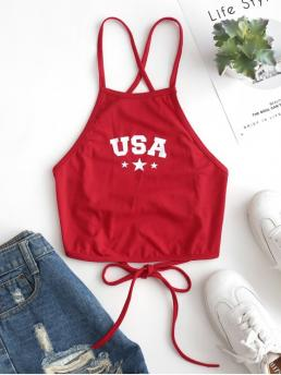 Summer Elastic Standard Criss-Cross and Lace Letter and Star Spaghetti Short Fashion Star Letter Graphic Lace Up Cami Top