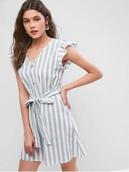 No Summer Striped Ruffles Sleeveless V-Collar Mini A-Line Casual and Day and Vacation Fashion Ruffle Armhole Striped Tied Mini Dress